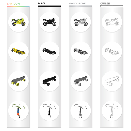 Sports bike, racing car, skateboard, extreme jumping.
