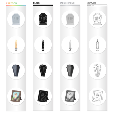 A gravestone with an inscription, a lighted candle, a coffin, a photograph of the deceased. Funeral ceremony set collection icons in cartoon black monochrome outline style vector symbol stock illustration web.