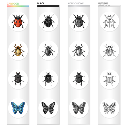 レディバグ、昆虫の虫、蝶。●昆虫は漫画の黒いモノクロアウトラインスタイルベクトルシンボルストックイラストウェブでコレクションアイコン