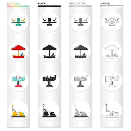 Carrossel, descanso, férias e outro ícone da web no estilo cartoon. Avião, carro, ícones de entretenimento na coleção definida. Foto de archivo - 93610998