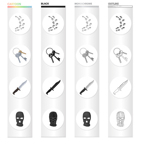 Prison and the criminal cartoon black monochrome outline icons in set collection for design. Prison and Attributes vector symbol stock web illustration.