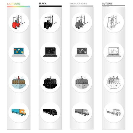 Loader, laptop, shipping by sea, truck. Logistics and delivery set collection icons in cartoon black monochrome outline style vector. Illusztráció