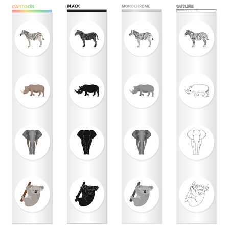 Wild animal zebra, rhinoceros, elephant, koala. Different kinds of animal set collection icons in cartoon black monochrome outline style vector symbol stock illustration .
