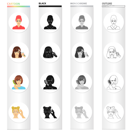 Drying hair, perming the bangs, combing and care, dyeing eyelashes. Make-up and hair care set collection icons in cartoon black monochrome outline style vector symbol stock illustration .