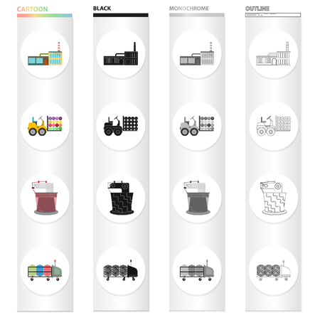 Factory, enterprise, building, and other web icon in cartoon style.Bench, tool, installation icons in set collection.