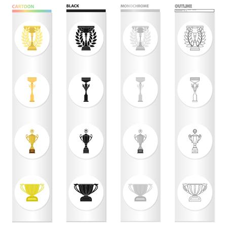 경쟁, 스포츠, 업적 및 만화 스타일의 다른 아이콘. 장식, 메모리, 컬렉션의 기호 아이콘을 서명합니다. 일러스트