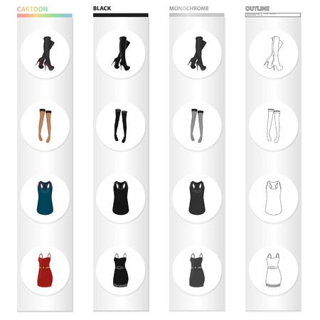 Women's boots, stockings, T-shirt, dress sarafan.