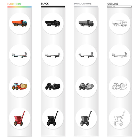 Truck, trailer for hay, tractor with a roll of hay, mobile chopper. Different types of agricultural machinery set collection icons in cartoon black monochrome outline style vector symbol stock isometric illustration . Vectores
