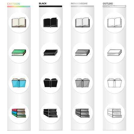 Different types of books, literature, textbook, dictionary. Book set collection icons in cartoon black monochrome outline style vector symbol stock illustration . Illustration