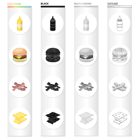 Picnic, sandwich, burger, and other web icon in cartoon style.Bottle, packaging, mustard icons in set collection. Ilustracja