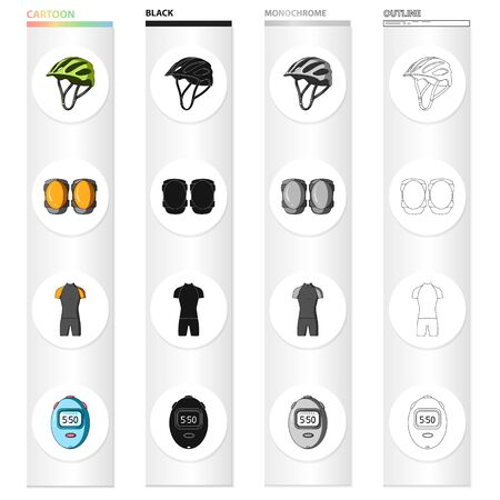 Bicycle outfit cartoon black monochrome outline icons in set collection for design. Bicycle and tool vector symbol stock illustration. Illustration