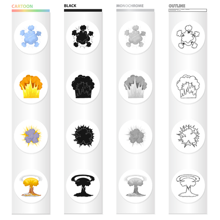 Nuclear explosion, flash, flame. Various types of explosions set collection icons in cartoon black monochrome outline style vector symbol stock illustration.