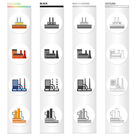 Set van verwerkingsbedrijf, industriële productie faciliteiten illustratie.