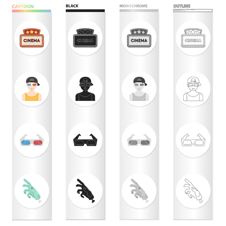 Cinema sign, viewer, 3D glasses, special effects, mechanical hand. Film and Cinema set collection icons in cartoon black monochrome outline style vector symbol stock illustration web.