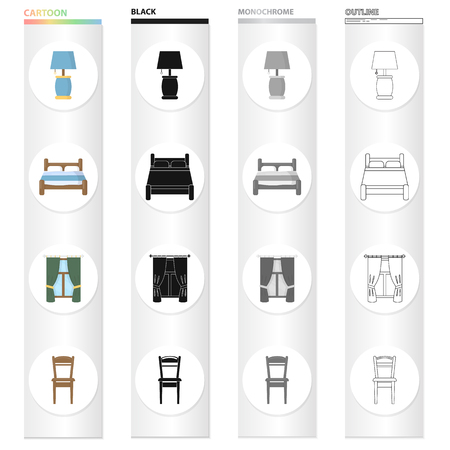 Table lamp, bed, bedroom furniture, window with curtains, wooden chair. Furniture set collection icons in cartoon black monochrome outline style vector symbol stock illustration web.