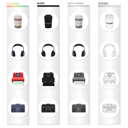 A glass of coffee, an earphone, a camera polaroid, a music center. Hipster style set collection icons in cartoon black monochrome outline style vector symbol stock illustration web.