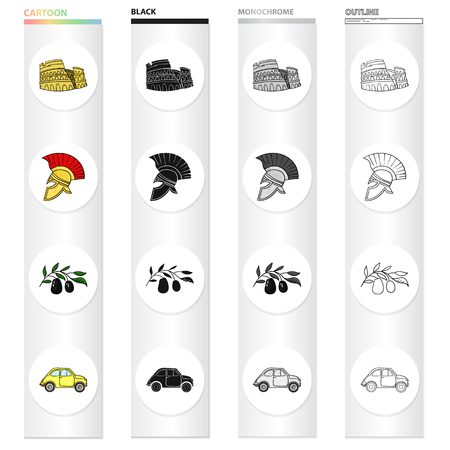 The ruins of the Colosseum, a Roman helmet, a branch of olives, an Italian car. Italy country set collection icons in cartoon black monochrome outline style vector symbol stock illustration . Illustration