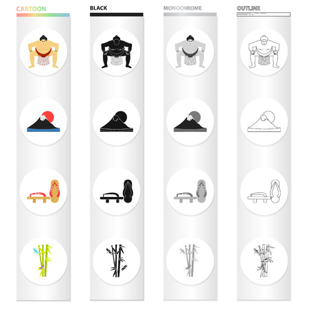 Sumo wrestler, Mount Fuji, bamboo, Japanese shoes, geta.Japan set collection icons in cartoon black monochrome outline style vector symbol stock illustration . Çizim