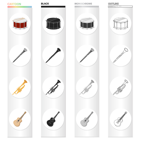 Instruments, entertainment, musician and other web icon in cartoon style. Theaters, playground, recreation, icons in set collection.