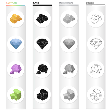 Ingots gold, brilliant precious mineral, untreated stone, malachite. Precious mineral set collection icons in cartoon black monochrome outline style vector symbol stock illustration web. Illustration