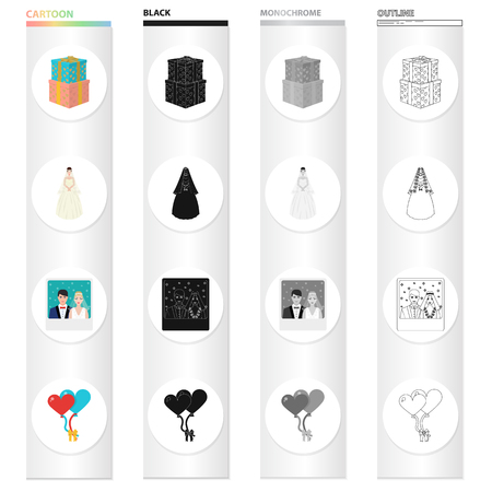 Wedding and Attributes cartoon black monochrome outline icons in set collection for design.Newlyweds and Accessories vector symbol stock web illustration.