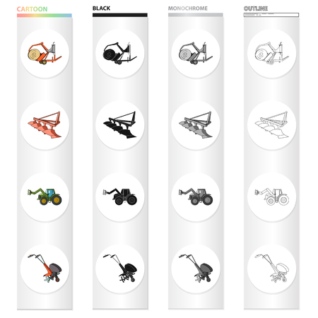 A trolley with a roll of hay, an agricultural plow, a tractor with a grip, a hand-held motoblock. Different types of agricultural machinery set collection icons in cartoon black monochrome outline style vector symbol stock isometric illustration web.