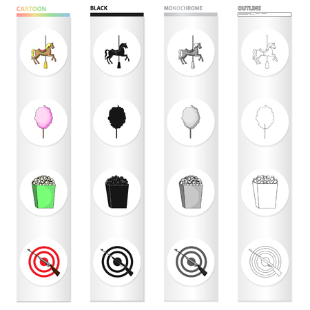 Amusement park cartoon black monochrome outline icons in set collection for design. Equipment and attractions vector symbol stock illustration. Illustration