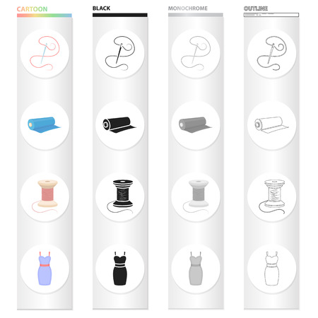 Needle with thread, sewing thread reel, fabric roll, dress. Sewing and equipment set collection icons in cartoon black monochrome outline style vector symbol stock illustration web. Reklamní fotografie - 93703725
