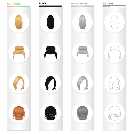 Set of women hairstyle  icons in cartoon black monochrome outline style illustration. 向量圖像