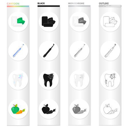 Mint chewing gum, a mechanical toothbrush for dental care, a healthy tooth, healthy vegetables. Dental care set collection icons in cartoon black monochrome outline style vector symbol stock illustration . Stock Illustratie