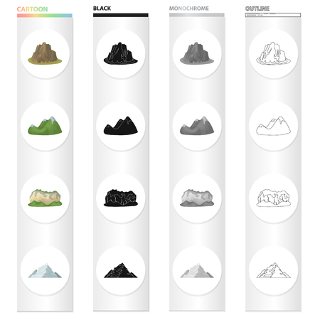 Mountains, nature, stone, and other web icon in cartoon style.Rock, material, building icons in set collection. Foto de archivo - 93703981