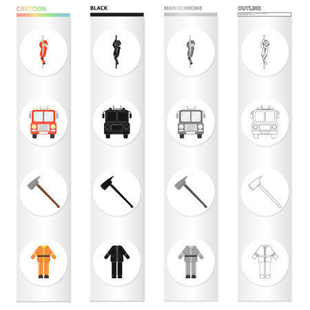Fireman, machine, fire ax, firemans protective suit. Fire Department set collection icons in cartoon black monochrome outline style vector symbol stock illustration . Illustration