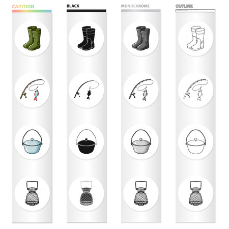 Rubber boots, spinning for fishing, bowler, fish tank. Fishing set collection icons in cartoon black monochrome outline style vector symbol stock illustration web. Illustration