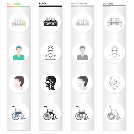 Hospital, medicine, polyclinic, and other web icon in cartoon style vector illustration