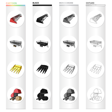 Combine harvester, hay trailer, bucket, hay packing. Different types of agricultural machinery set collection icons in cartoon black monochrome outline style vector symbol stock isometric illustration . Vectores