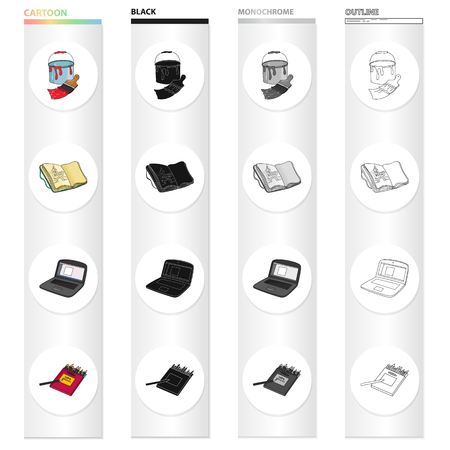 A bucket with paint and a brush, a notebook for drawings, an artist's notebook, a box of colored pencils. Artist and drawing set collection icons in cartoon black monochrome outline style. Vector symbol stock illustration.