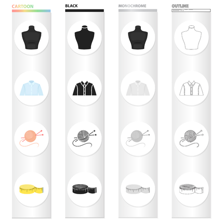 Measuring tape for sewing, mannequin, man's shirt, tangle with knitting needles. Sewing and equipment set collection icons in cartoon black monochrome outline style vector symbol stock illustration. Иллюстрация