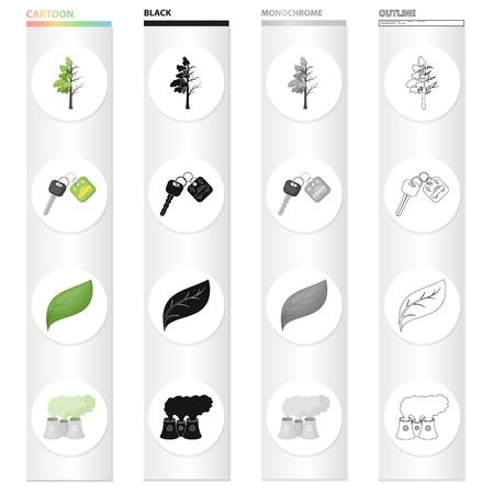 Degenerate tree, electric car key, bio, sheet, air emissions, pollution. 向量圖像
