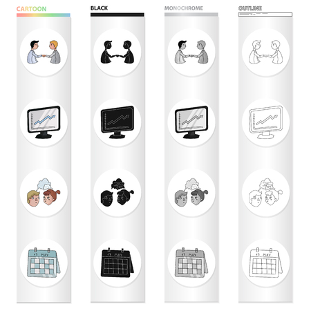 Business conference set collection icons in cartoon black monochrome outline style vector symbol stock illustration.