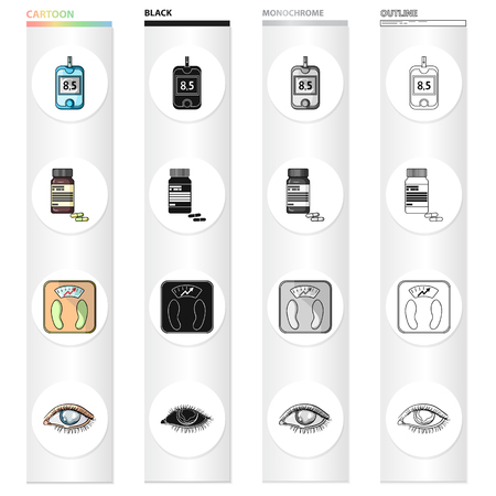 Apparatus, medical, bottle and other  icon in cartoon style.Hospital, polyclinic, diet icons in set collection. Illustration