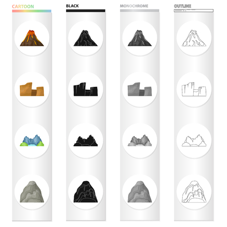 Mountains, nature, stone, and other icon in cartoon style.Rock, material, building icons in set collection. Vectores
