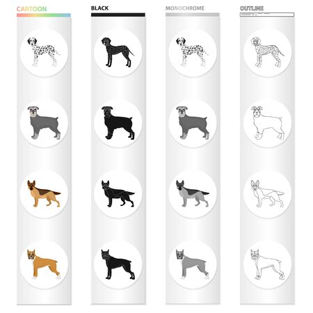 Dalmatian, terrier, shepherd, and other  icon in cartoon style.Dog, pet, domestic, icons in set collection. Illustration