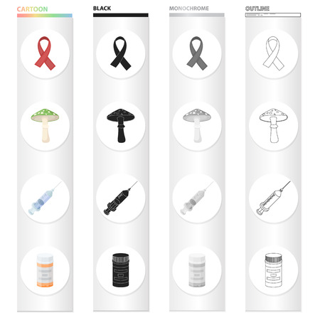 Drugs set collection icons in cartoon black monochrome outline style vector symbol stock illustration.