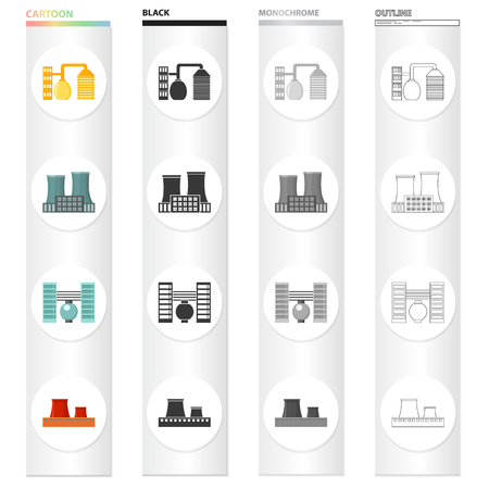 Processing plant, industrial production facilities. Plant and factory set collection icons in cartoon black monochrome outline.