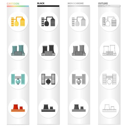 Verwerkingsfabriek, industriële productiefaciliteiten. Plant en fabriek instellen collectie pictogrammen in cartoon zwart zwart-wit overzicht.