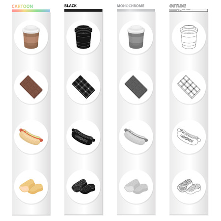 Coffee take-away, chocolate tile, hot dog food, nugget. Fast food set collection icons in cartoon black monochrome outline style vector symbol stock illustration . Illusztráció