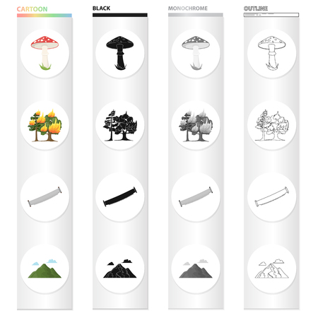 Amanita, forest fire, hand saw on wood, mountain with clouds. Forest set collection icons in cartoon black monochrome outline style vector symbol stock illustration . Ilustrace