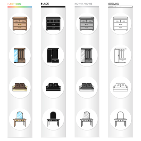 Interior of the bedroom, bed, chest of drawers, furniture in the hallway, dressing table. Furniture and home interiors set collection icons in cartoon black monochrome outline style vector symbol stock illustration web. Illustration
