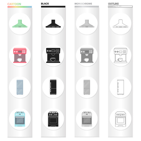 Types of household appliances cartoon black monochrome outline icons in set collection for design.Kitchen equipment vector symbol stock illustration. Vettoriali