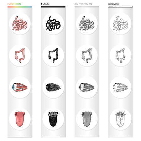 Intestine, internal organ, duodenum, human eye, tongue and tonsils. Human organs set collection icons in cartoon black monochrome outline style vector symbol stock illustration .